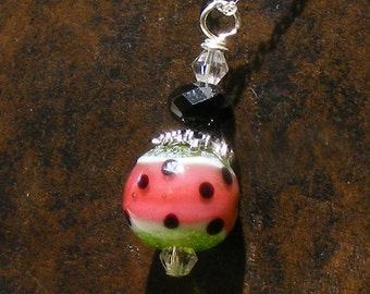 WATERMELON Handmade Lampwork Glass Beads Sterling Silver Necklace Nc2371, Swarovski Crystal, Barbecue Party, Beach  by Lynn SRA