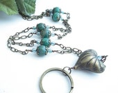 Antiqued Brass Heart and Chain ID Badge Lanyard, Blue Green Stone Beads