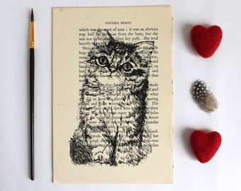 Sale Tabby Kitten Cat Print on Vintage Book Page from Lovable Beasts