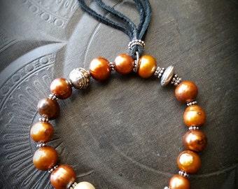 Boho, Gypsy, Pearls, Copper, Old Silver Beads, Stretchy Bracelet, Bangle, Stack-able Bracelet