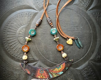 Artisan Jewelry, Day of the Dead, Skeletons, Spiritual, Bone, Flowers, Leather, Glass, Beaded Necklace