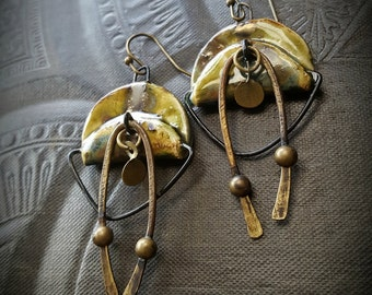 Porcelain, Wire Work, Rustic, Hoops, Clay, Tribal, Primitive, Brass, Wire Wrapped, Organic, Beaded Earrings