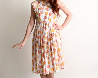 Vintage 1960s Floral Dress - R&K Originals Citrus Flower Print Tangerine and Lemon Day Dress - Large XL