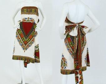 1970's Vintage Dashiki Cream Cotton Strapless Large Bow Back Mini Dress
