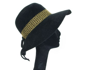 1960's Vintage Psych Girl Black Velour Gold Metallic Ribbon Wide Brimmed Hat