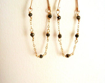 Pyrite and gold earrings Glide earrings Hoops Rock chic VitrineDesigns under 60