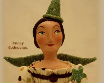 Contemporary  Folk Art Fairy Godmother Art Doll Sculpture