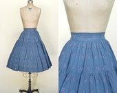 1950s Cotton Skirt --- Vintage Novelty Print Circle Skirt