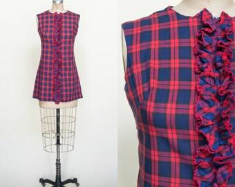 1960s Mini Dress --- Red Plaid Dress