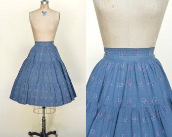 SALE /// 1950s Cotton Skirt --- Vintage Novelty Print Circle Skirt