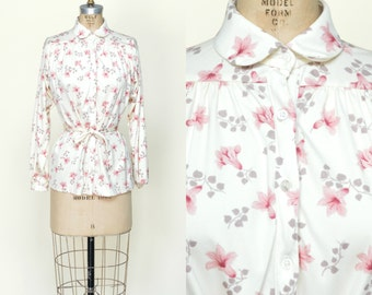 1970s Floral Blouse --- Vintage Long Sleeve Button Up