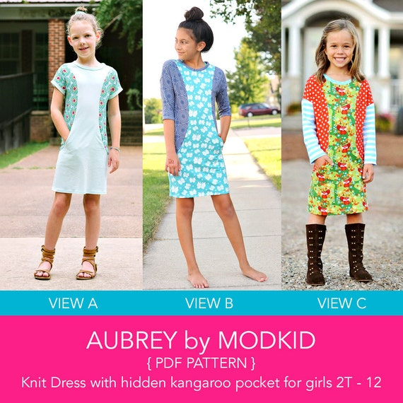 Aubrey Knit Dress PDF Downloadable Pattern by MODKID... sizes 2T to 12 Girls included - Instant Download
