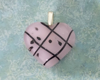 Pink Heart, Fused Glass Pendant, Heart Jewelry, Pale Pink, Black Stripes and Accents, Ready to Ship - Faithful Heart - Skylan -4346 -5