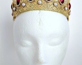 Renaissance Tiara, Medieval Crown, Renaissance Jewelry, Tudor Crown, Headpiece, Headdress, Medieval Tiara, Cosplay, Gold Plate, U Pick Color