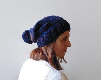 Navy Blue Pom Pom Beanie, Chunky Knit Hat, Women Beanies, One of a Kind, Stocking, Wool, Pompom Hat, Bonnet Hat, Bobble Hat, Pom Pom Hat