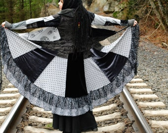 Carousel Wrap Jacket, Hippie Coat, Black and Gray Festival Jacket, Skull and Crossbones