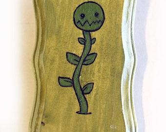 Plant Monster Painting - Original Wall Art Acrylic Miniature Painting on Wood by Karen Watkins - Green Plant Creature Art