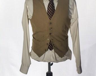 Men's Suit Vest / Vintage Khaki Waistcoat / Size 38 / Medium