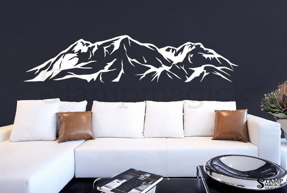 mountain wall decal snowy mountain range wall art hills. Black Bedroom Furniture Sets. Home Design Ideas