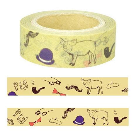 Cochon washi tape s rie animale masking tape gf 335 - Masking tape traduction ...