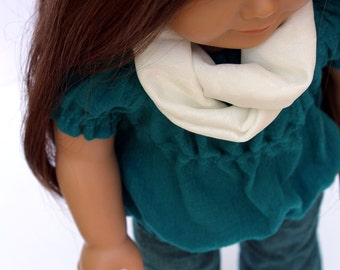 Fits like American Girl Doll Clothes - Teal Bubble Peasant Top, Flared Jeans, and Cream Infinity Scarf