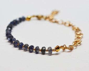Faceted iolite and 14k gold filled simple rose chain chainmaille split style adjustable length bracelet
