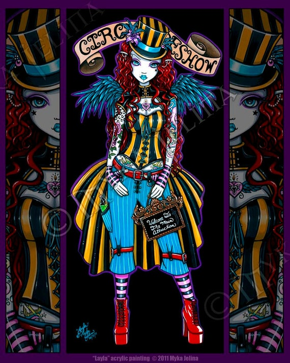 Layla Steampunk Couture Tattoo Circus Angel Art BIG Prints