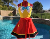 Tweedle Dee and Tweedle Dum Inspired Sassy Apron with Petticoat - Womens Aprons, Plus Sizes, Alice Costume Apron, Cosplay, Kitchen Apron