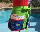 SALE -Ready to Ship - Sassy Half Apron, Vendor Apron with 6 pockets, Womens, Great for Teachers, School Crafts, Teacher's Gifts