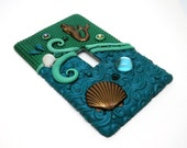 Switch Plate Mermaid Polymer Clay, Brass and Seashells