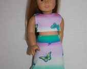 18 inch doll clothes, crop top,  pink and green butterfly print maxi skirt, Upbeat Petites