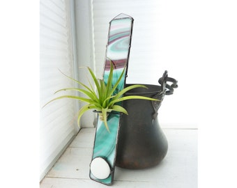 Stained Glass Air Plant Holder - Tall psychedelic purple , pink, white, and aqua teal