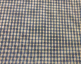 1 1/2 Yards of Vintage Blue and White Gingham Check Cotton Fabric