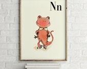 N for Newt - 4x6 - Alphabet art - Alphabet print - ABC wall art - ABC print - Nursery art - Nursery decor - Kids room decor - Children's art