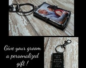 Soldered Glass Keychain, Grooms Gift, Valentines Day Wedding Charm, Bridal Charm, Memorial Photo Charm, Father Of Bride Gift,