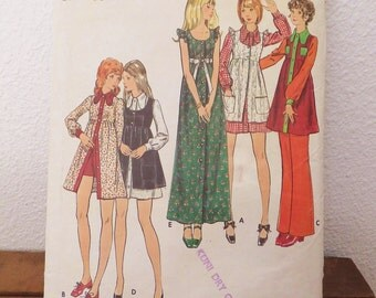 Vintage 1970's Dress Pattern Vintage Butterick 6491 Young Junior Teen Pinafore Dress Pants Shorts High Waisted Dress Pattern Size 9 Size 10