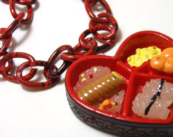 Bento Box Necklace - Sushi lover heart shaped black and red bento lunch box necklace - Japanophile Kawaii