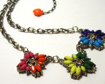 Rainbow flower necklace - Multi colored bohemian floral sunburst necklace with rhineston accents