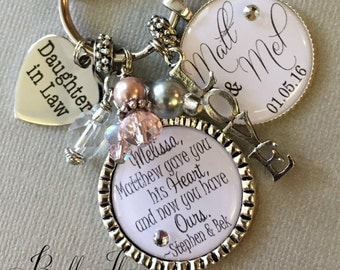 Daughter in Law, Daughter in law Wedding gift, chosen by our son and are like a daughter to us, bridal shower gift, Bridal bouquet charm