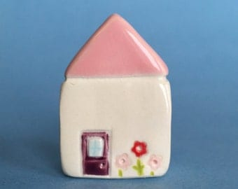 Little flower House Collectible Ceramic Miniature Clay House pink purple white green