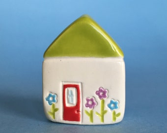 Little flower House Collectible Ceramic Miniature Clay House white green