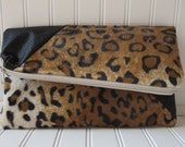 Leopard Clutch - Leopard Print Clutch - Monogram Clutch - Foldover Clutch Purse - Monogrammed Foldover Clutch - Vegan Leather Clutch Purse