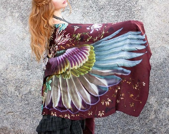Wings scarf, Crimson bohemian bird feathers shawl, hand painted, digital print, wrap sarong, perfect Valentine gifts.