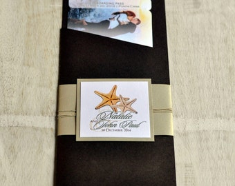 Boarding Pass Invitation or Save the Date Design Fee (Personalized Picture with Starfish & Twine Design)