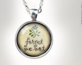 Forget Me Not : Glass Dome Necklace, Pendant or Keychain Key Ring. Gift Present metal jewelry Relief Society Mothers Day ideas