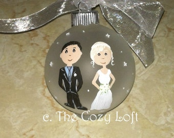 Bride & Groom Couple Gift, Engagement Gift, Our First Christmas Ornament Decor Hand Painted Original Art Personalized Wedding Couple Gift