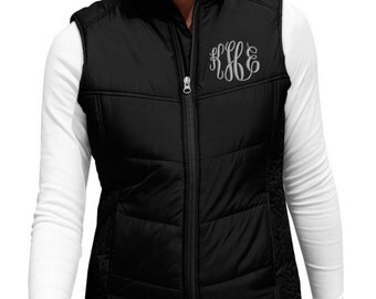 Monogram Puffer Vest Puffy Quilted Monogrammed Gift for her Holiday gift