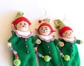 Christmas Tree Ornament Fun Christmas Elf, Felt Art Doll