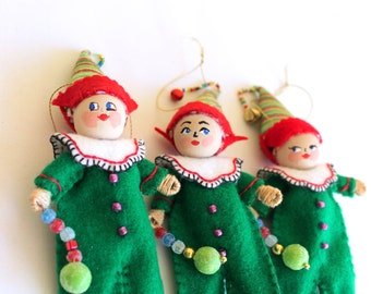 Christmas Tree Ornament Fun Christmas Elf, Felt Art Doll, Felt Christmas Elf