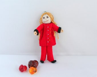 Halloween Decoration Long Hair bones boy Felt Art Doll hanging ornament, Handmade Felt Ornaments
